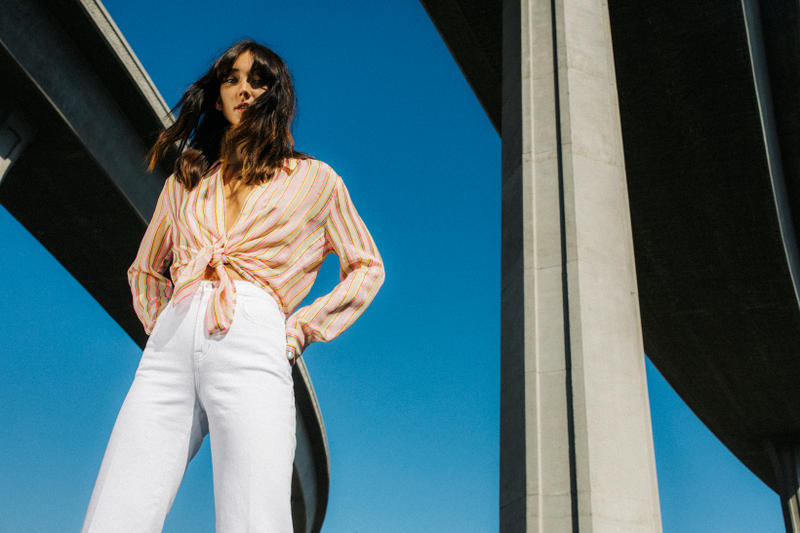 J Brand Spring 2019 Campaign Top Yellow Pink Pants White