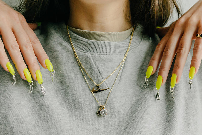 Jessica Washick Nike Air Force 1 AF1 Designer Nail Artist Just Do It Manicure Neon Yellow Swoosh Pendant Necklace Nails
