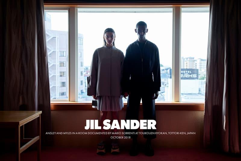 Jil Sander Spring Summer 2019 Campaign Top Grey Skirt Purple Jacket Pants Black