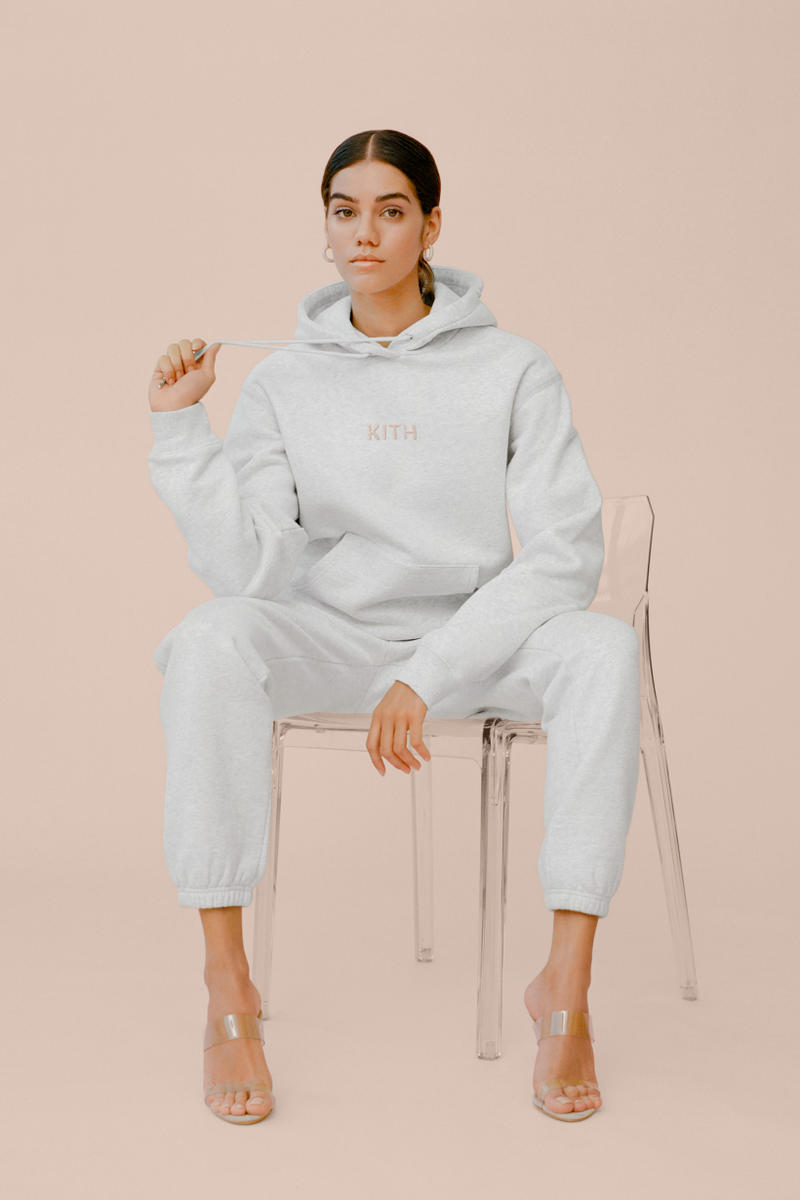 kith Women Glitter Hoodie Sweatpants Heather Grey