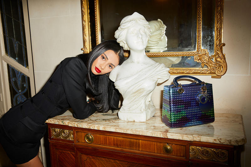 Kristen Noel Crawley Dior Makeup Men Fall Winter 2019 FW19 Paris Fashion Week Men's KNC Beauty white statue red lipstick lady bag