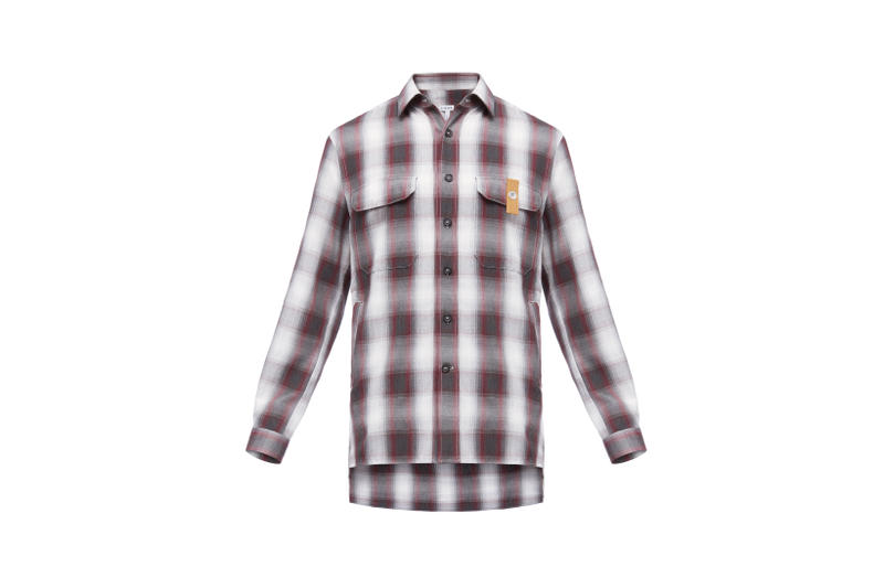 LOEWE Eye Nature Collection Collared Shirt Plaid White Red
