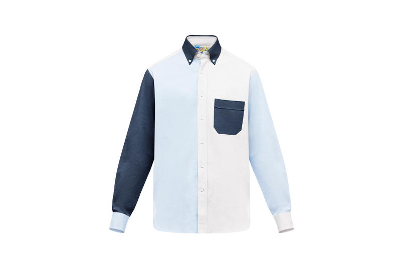 LOEWE Eye Nature Collection Collared Shirt Navy White