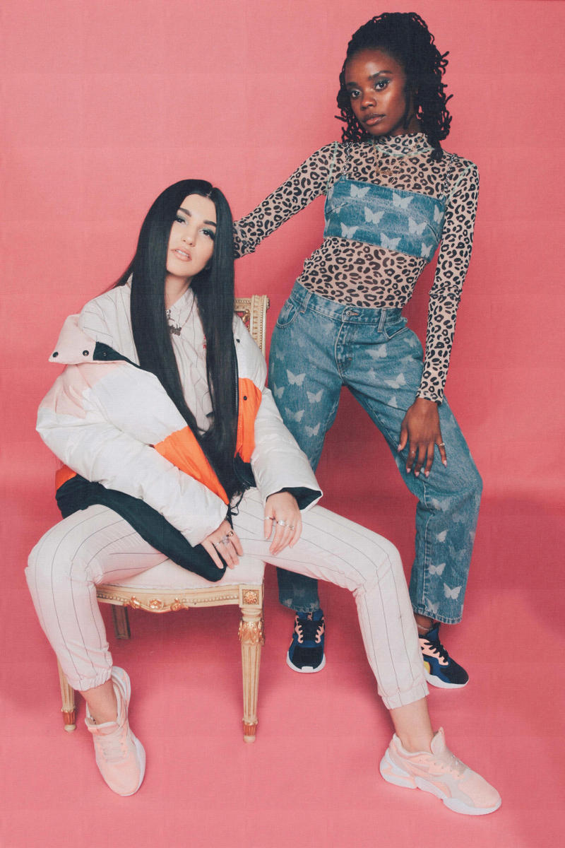 Lola Plaku x PUMA Nova GRL PWR Campaign Black Surf The Web Peach Bud Pearl Blush Bambii Azan Enisa Top Pants Blue