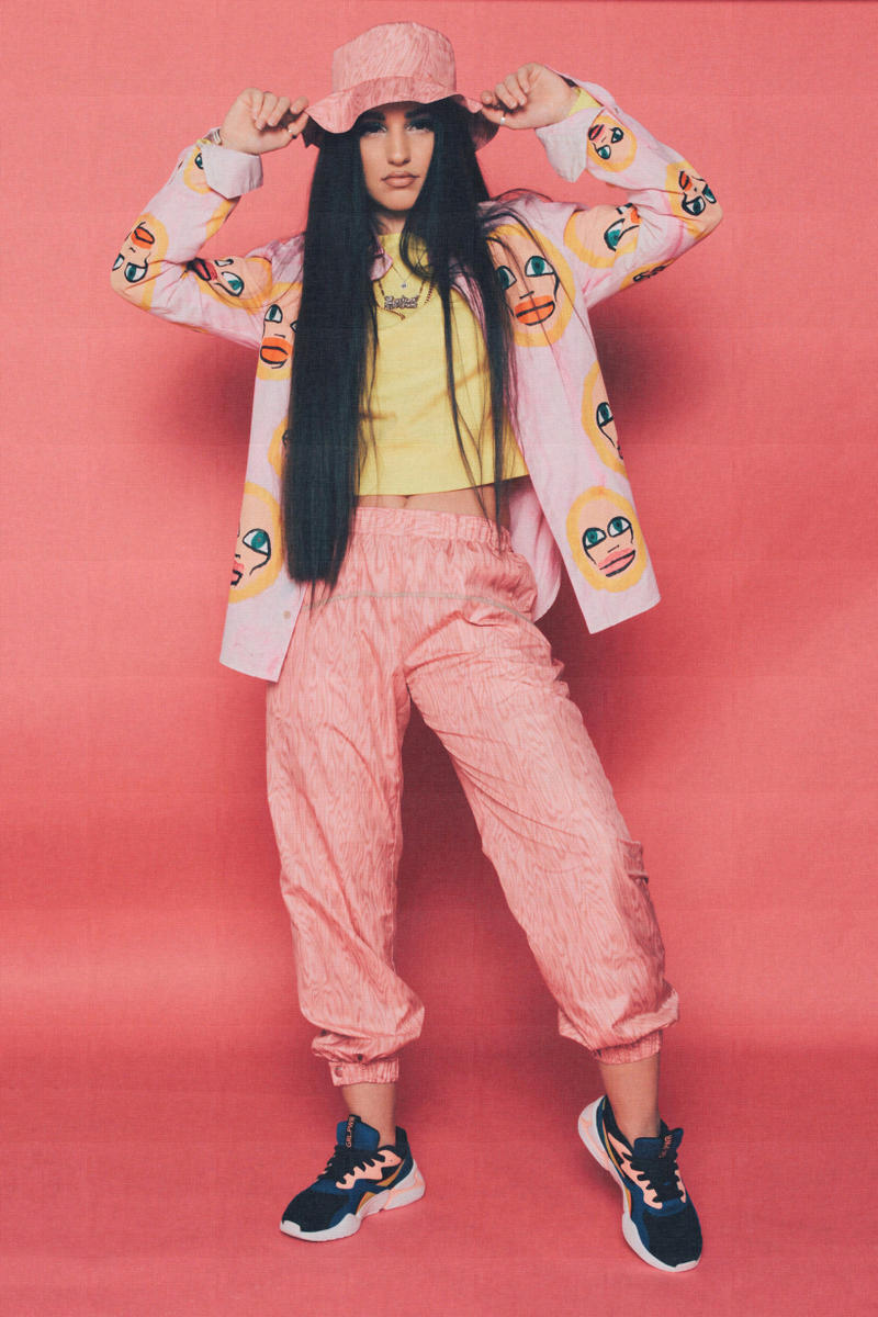 Lola Plaku x PUMA Nova GRL PWR Campaign Black Surf The Web Enisa Hat Sweatpants Pink Top Yellow