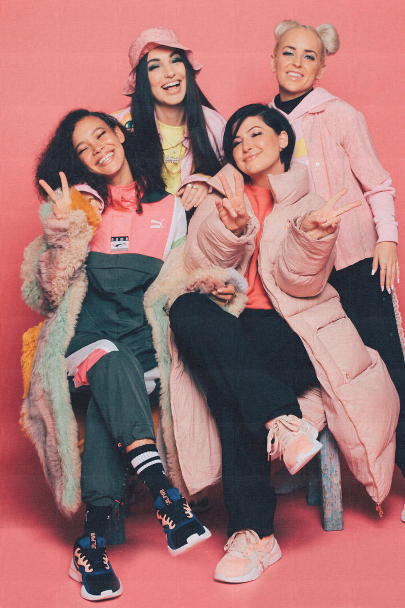 Lola Plaku x PUMA Nova GRL PWR Campaign Black Surf The Web Peach Bud Pearl Blush Marz Lovejoy Bambii Azan Enisa Lauren Ledford Sweatpants Black Jackets Pink Green
