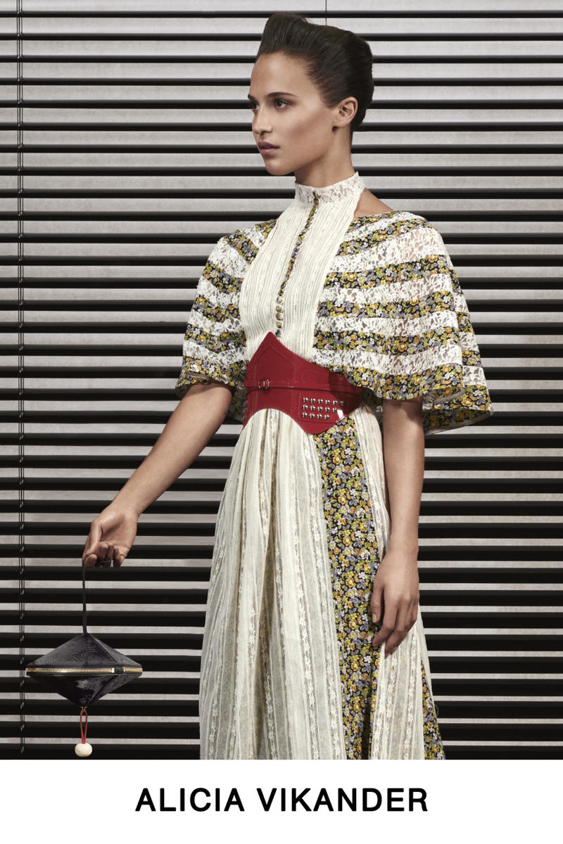 Louis Vuitton Pre-Fall 2019 Lookbook Alicia Vikander Dress Cream