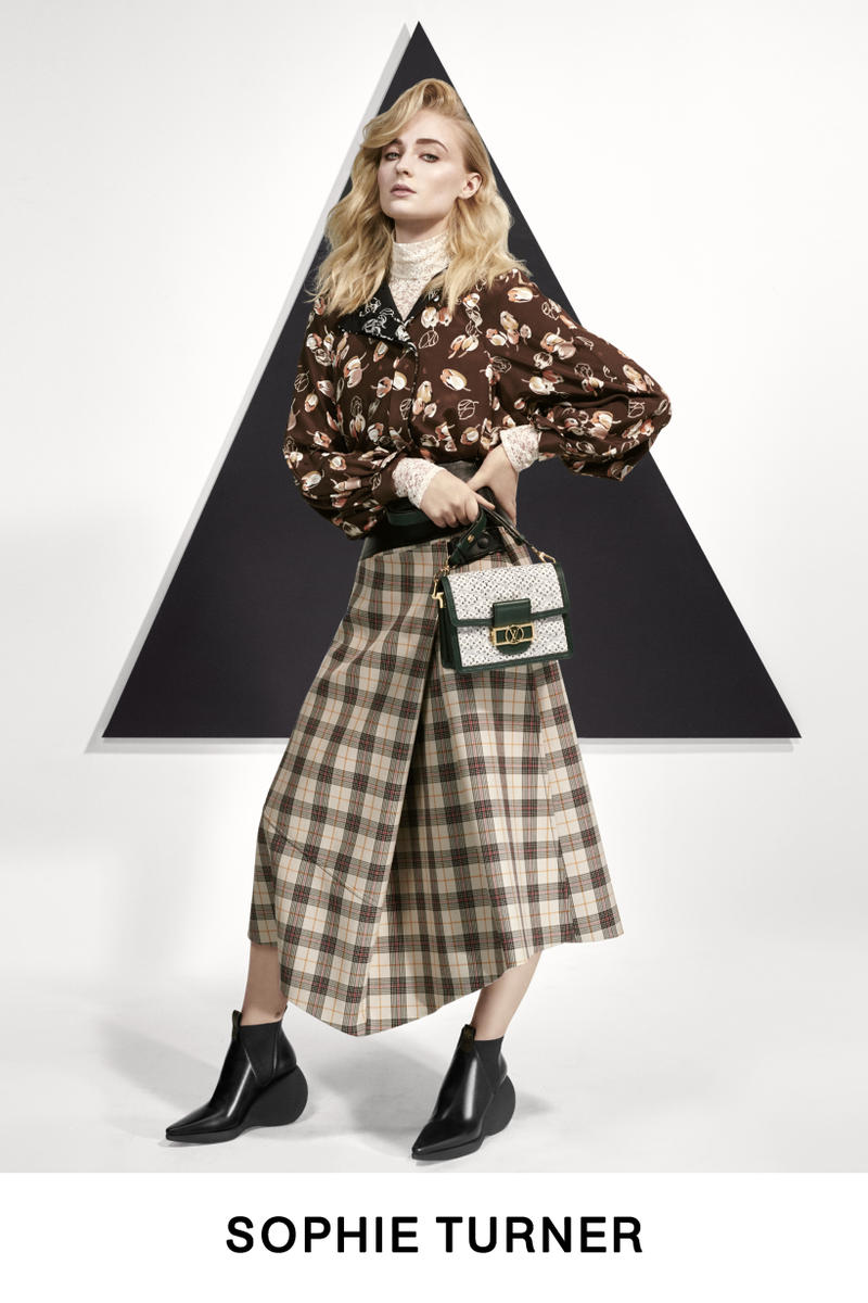 Louis Vuitton Pre-Fall 2019 Lookbook Sophie Turner Top Skirt Black Yellow
