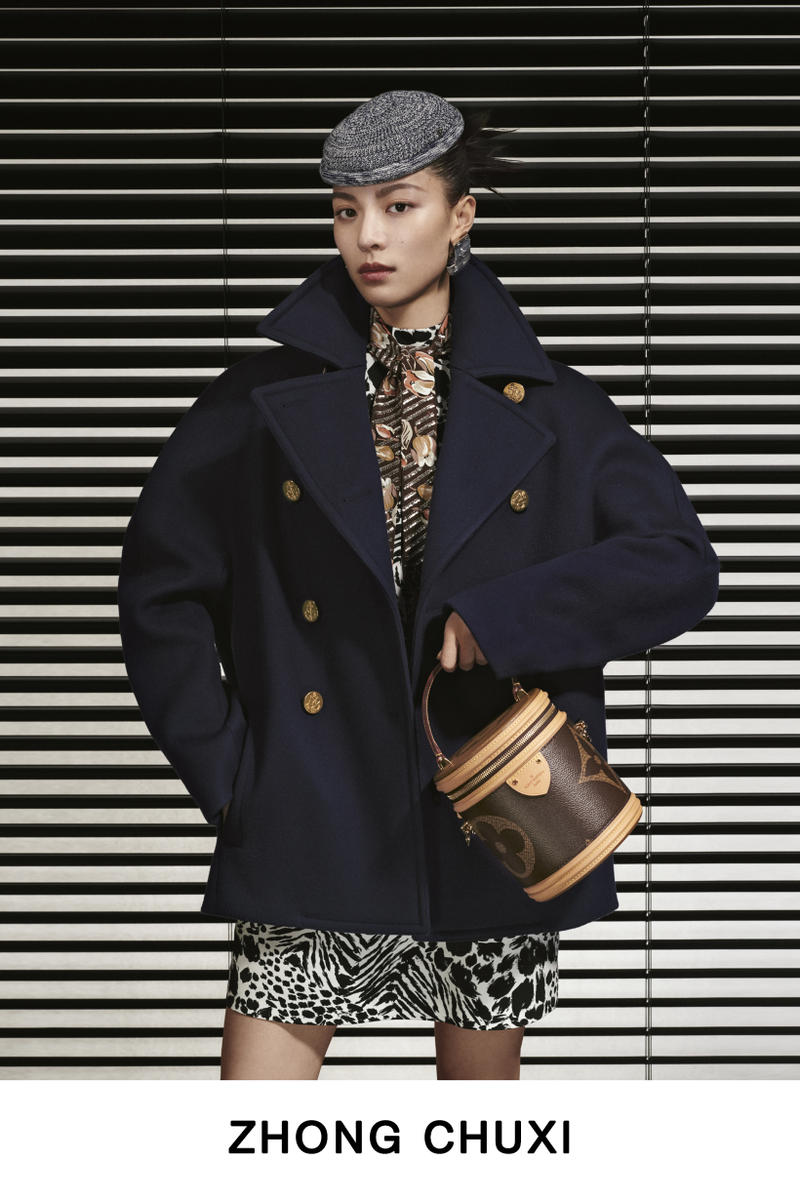 Louis Vuitton Pre-Fall 2019 Lookbook Zhong Chuxi Jacket Navy Hat Grey