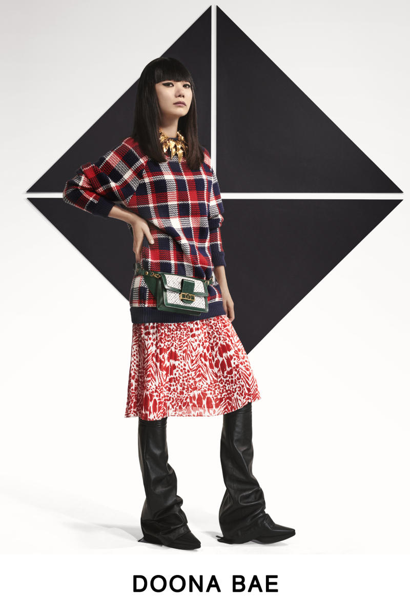 Louis Vuitton Pre-Fall 2019 Lookbook Doona Bae Top Skirt Red White