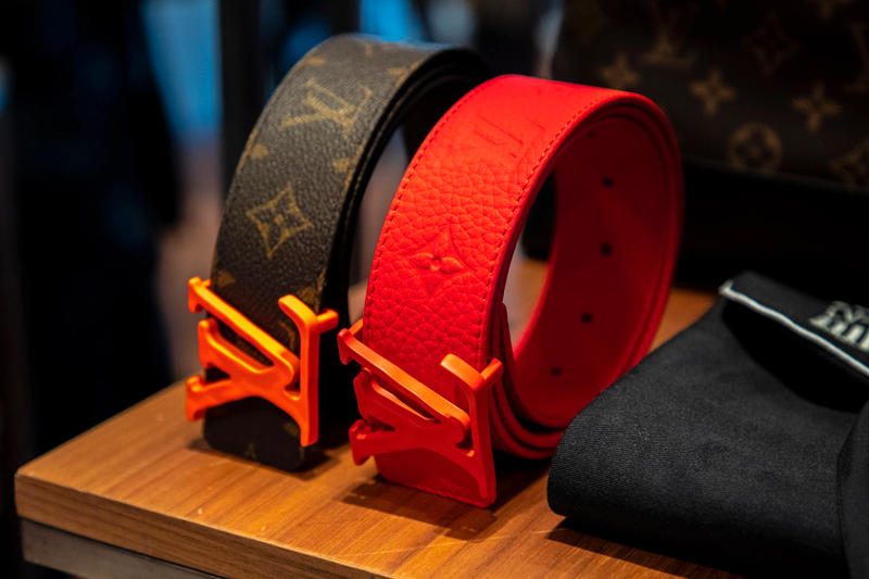 louis vuitton virgil abloh ss19 spring summer 2019 menswear monogram belt neon orange red