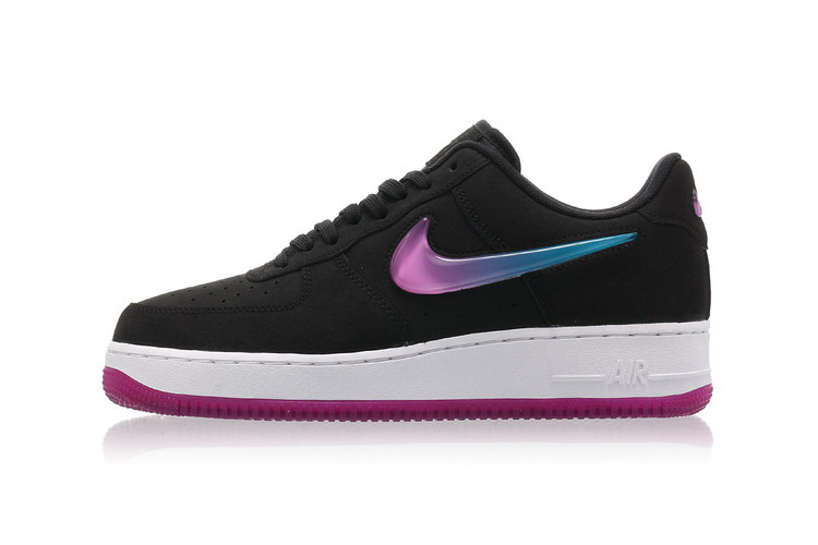 0d01b37e9599 Peep the Pink and Blue Gradient Swoosh on Nike s Air Force 1