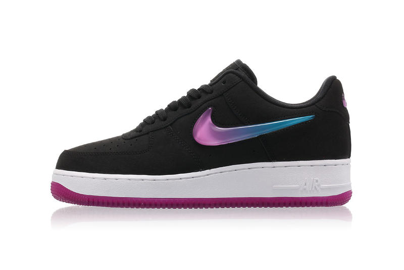 new concept 8e1bd 282cc Nike Air Force 1 Black Leather Fuchsia Pink Blue Ombré Swoosh