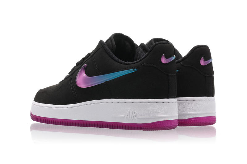 Nike Air Force 1 Black Leather Fuchsia Pink Blue Ombré Swoosh