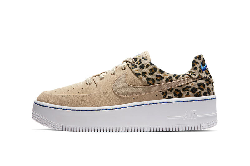 53749e119 Nike Air Force 1 Sage Low Premium Desert Ore Electric Blue Leopard Print