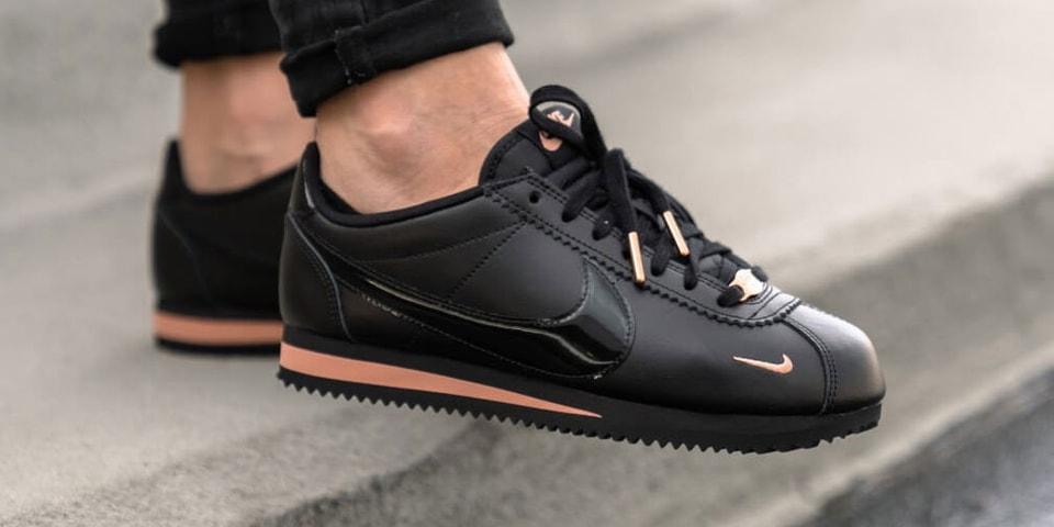 najlepiej online za pół sklep internetowy Shop Nike's Classic Cortez in Black & Rose Gold | HYPEBAE