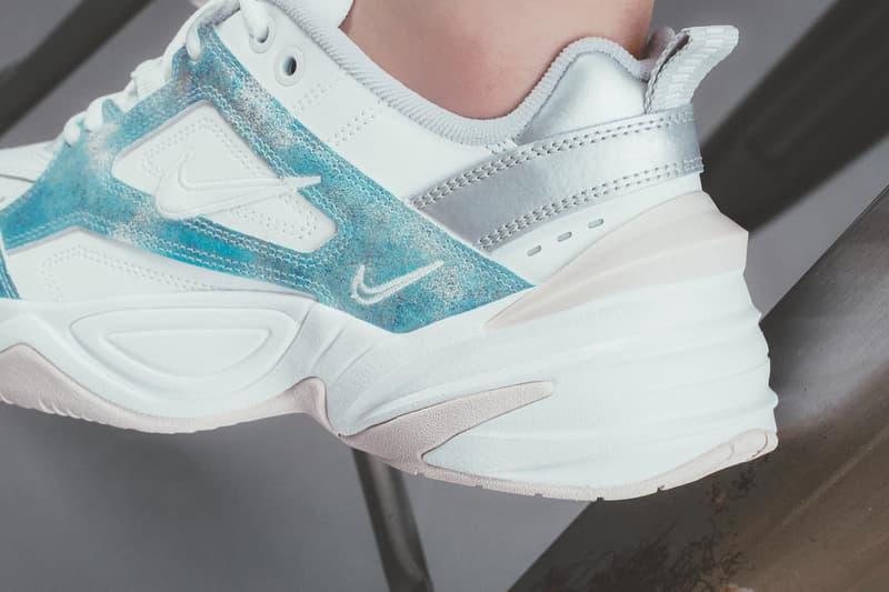 Nike M2K Tekno White Metallic Blue Silver Pink Chunky Sneakers