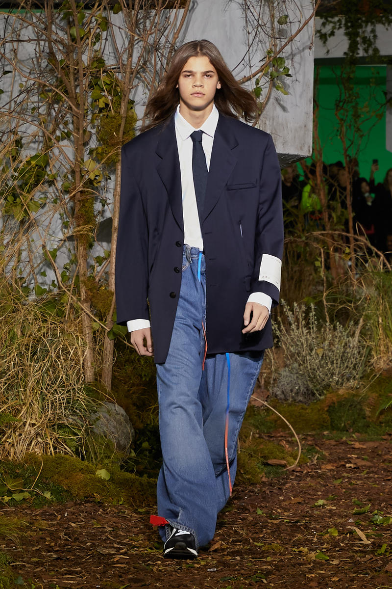 Off-White Virgil Abloh Fall Winter 2019 Paris Fashion Week Show Collection Backstage Blazer Navy Jeans Blue