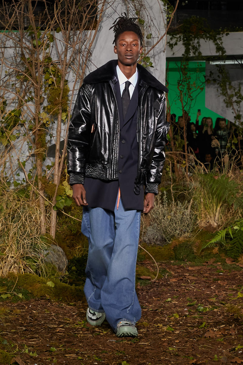 Off-White Virgil Abloh Fall Winter 2019 Paris Fashion Week Show Collection Backstage Jacket Black Jeans Blue