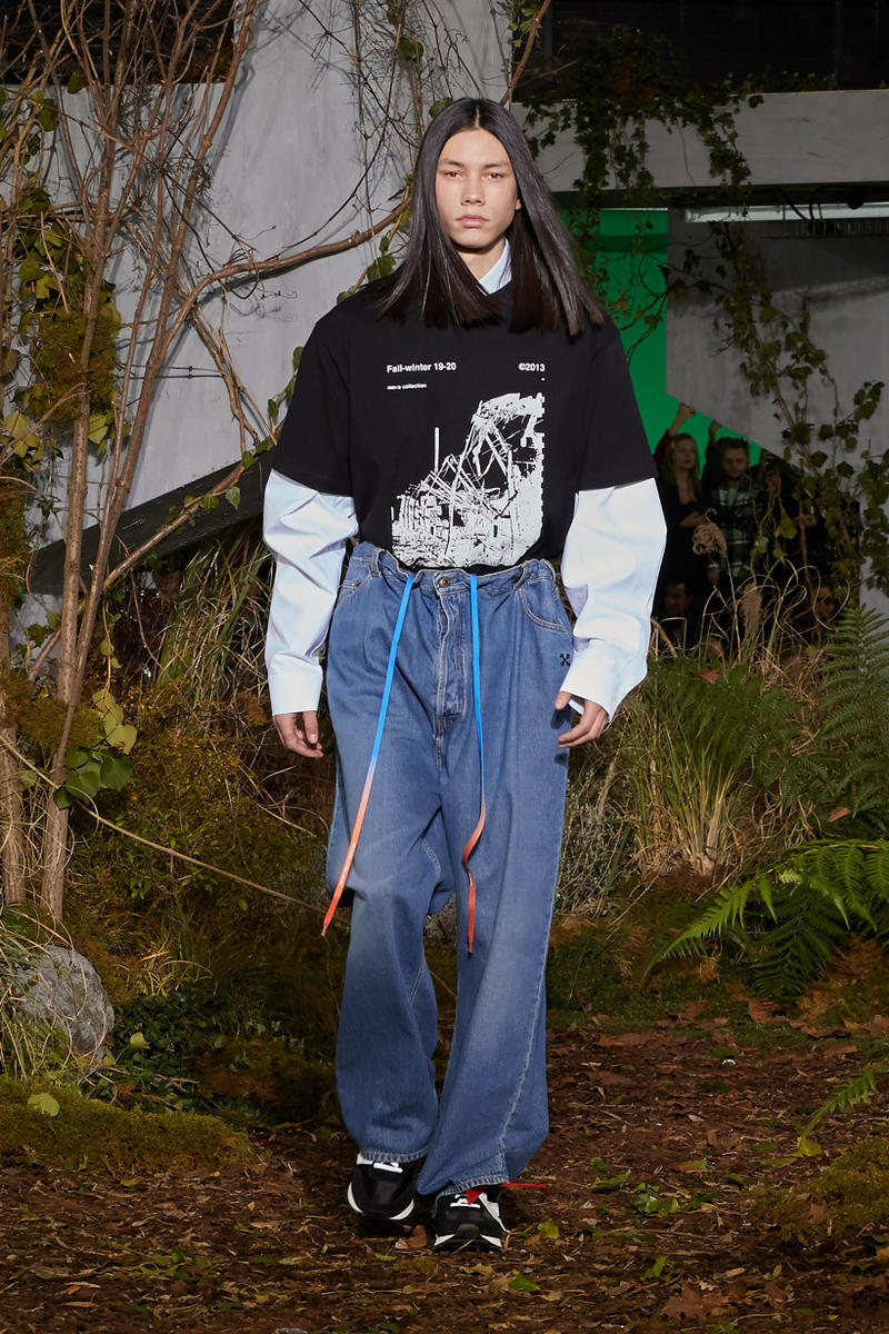 Off-White Virgil Abloh Fall Winter 2019 Paris Fashion Week Show Collection Backstage Sweater Black Jeans Blue