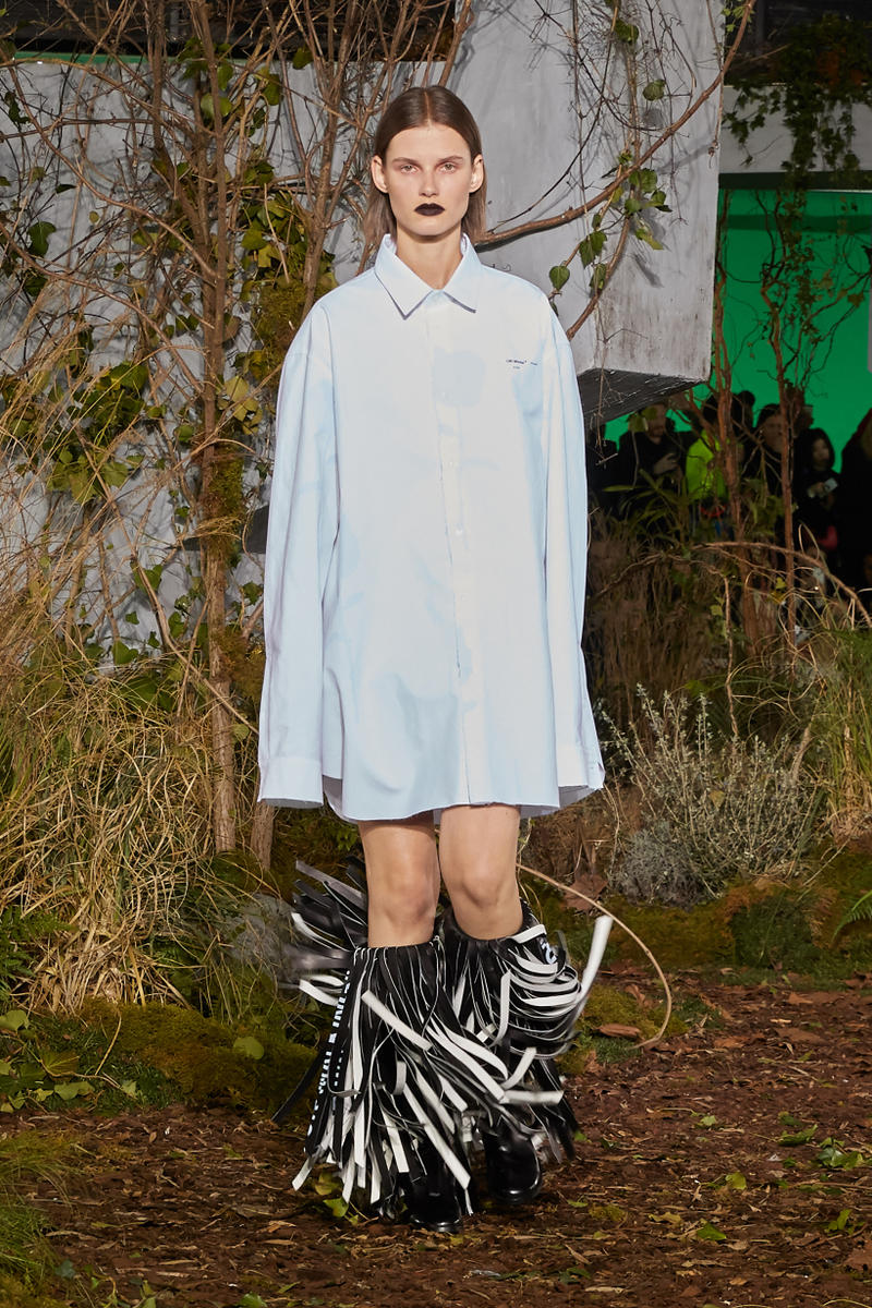 Off-White Virgil Abloh Fall Winter 2019 Paris Fashion Week Show Collection Backstage Long Sleeved Shirt White