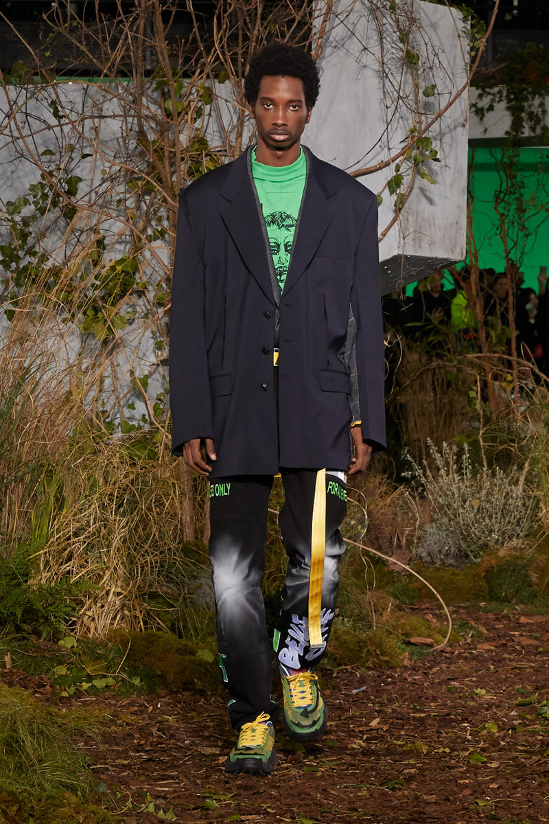 Off-White Virgil Abloh Fall Winter 2019 Paris Fashion Week Show Collection Backstage Shirt Green Blazer Black