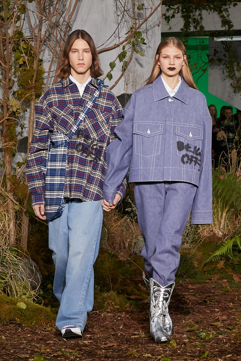 Off-White Virgil Abloh Fall Winter 2019 Paris Fashion Week Show Collection Backstage Plaid Coat Navy Grey Denim Jacket Blue