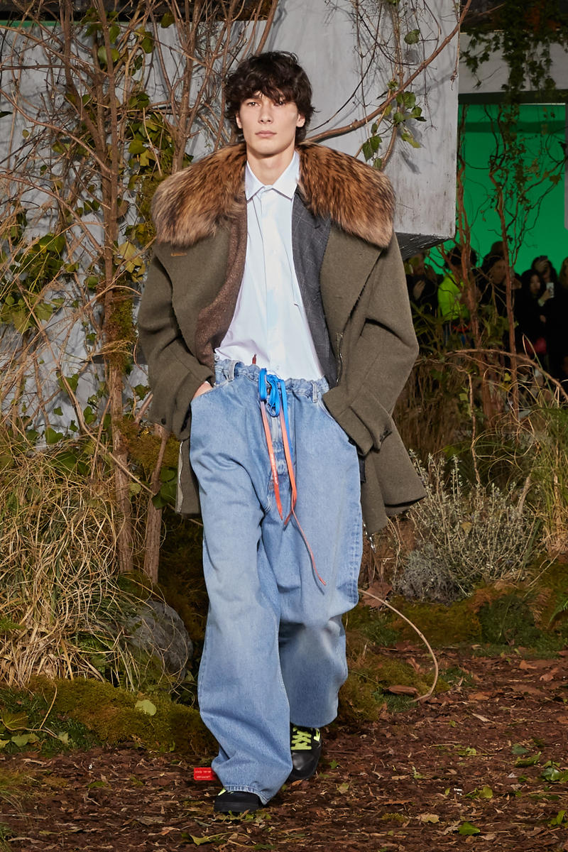 Off-White Virgil Abloh Fall Winter 2019 Paris Fashion Week Show Collection Backstage Coat Green Shirt White Pants Blue