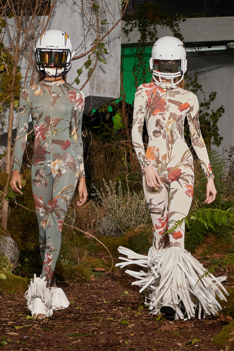 Off-White Virgil Abloh Fall Winter 2019 Paris Fashion Week Show Collection Backstage Floral Bodysuits Grey Tan Helmets White