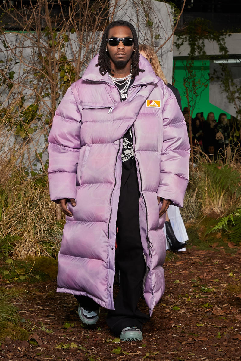 Off-White Virgil Abloh Fall Winter 2019 Paris Fashion Week Show Collection Backstage Offset Puffer Coat Purple