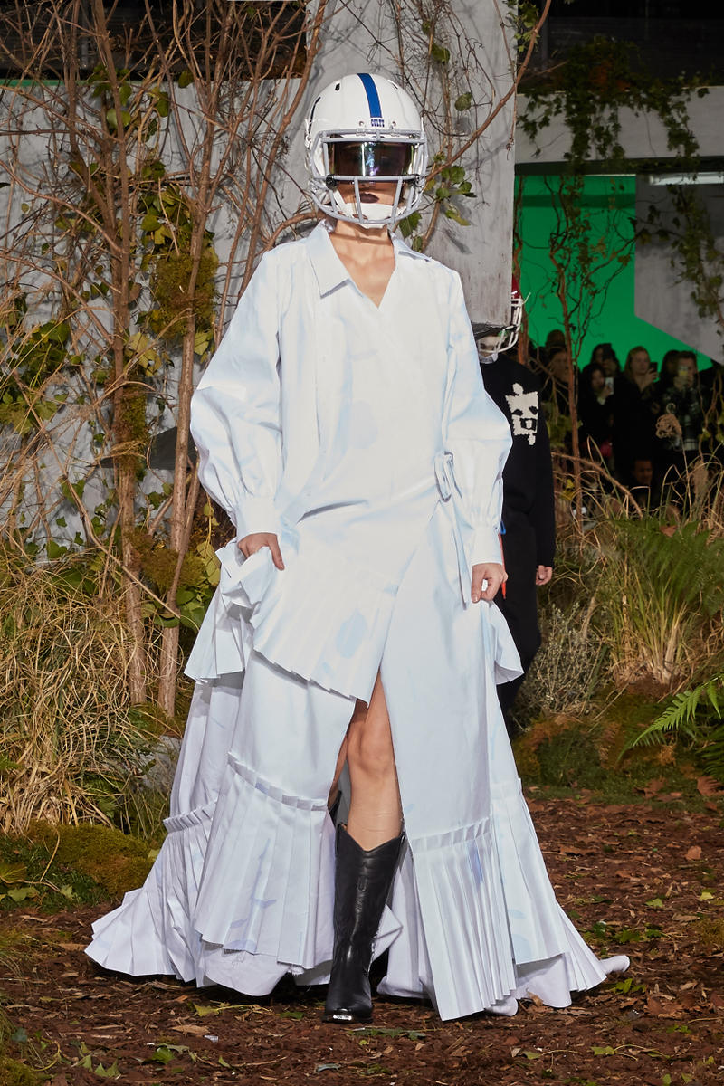 Off-White Virgil Abloh Fall Winter 2019 Paris Fashion Week Show Collection Backstage Cotton Dress White