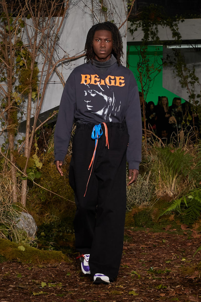 Off-White Virgil Abloh Fall Winter 2019 Paris Fashion Week Show Collection Backstage Sweater Grey Pants Black