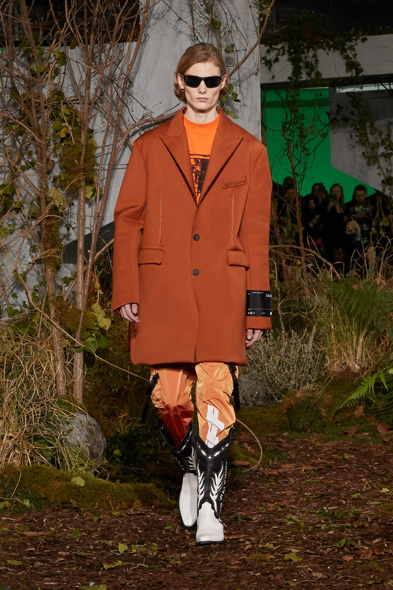 Off-White Virgil Abloh Fall Winter 2019 Paris Fashion Week Show Collection Backstage Blazer Pants Orange
