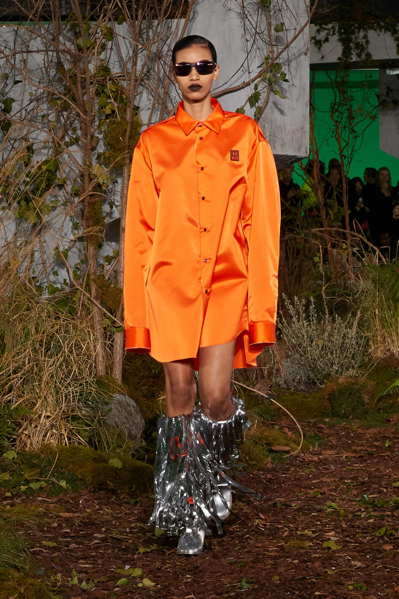 Off-White Virgil Abloh Fall Winter 2019 Paris Fashion Week Show Collection Backstage Blazer Dress Orange
