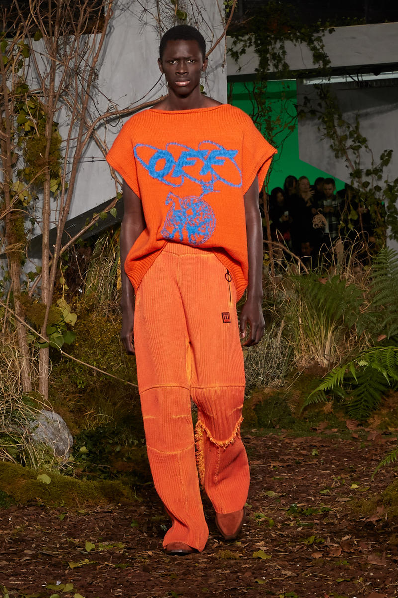 Off-White Virgil Abloh Fall Winter 2019 Paris Fashion Week Show Collection Backstage Sweater Pants Orange