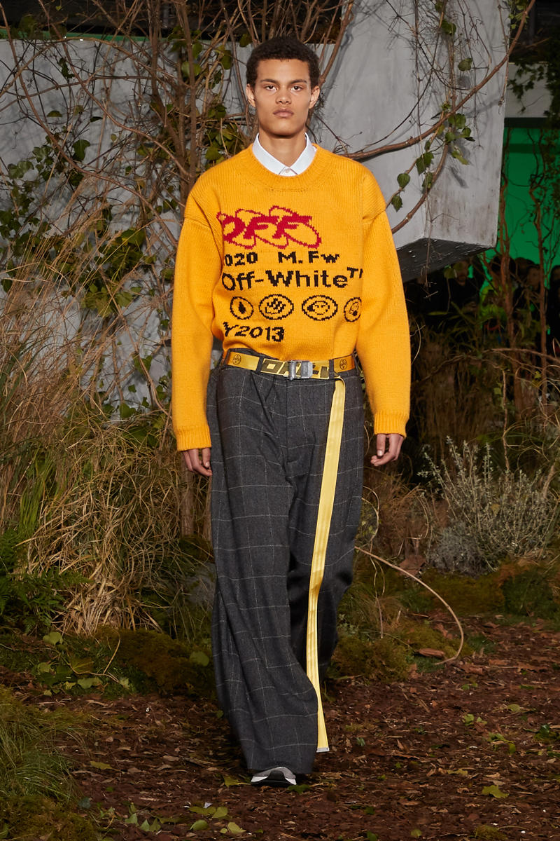 Off-White Virgil Abloh Fall Winter 2019 Paris Fashion Week Show Collection Backstage Sweater Yellow Pants Grey