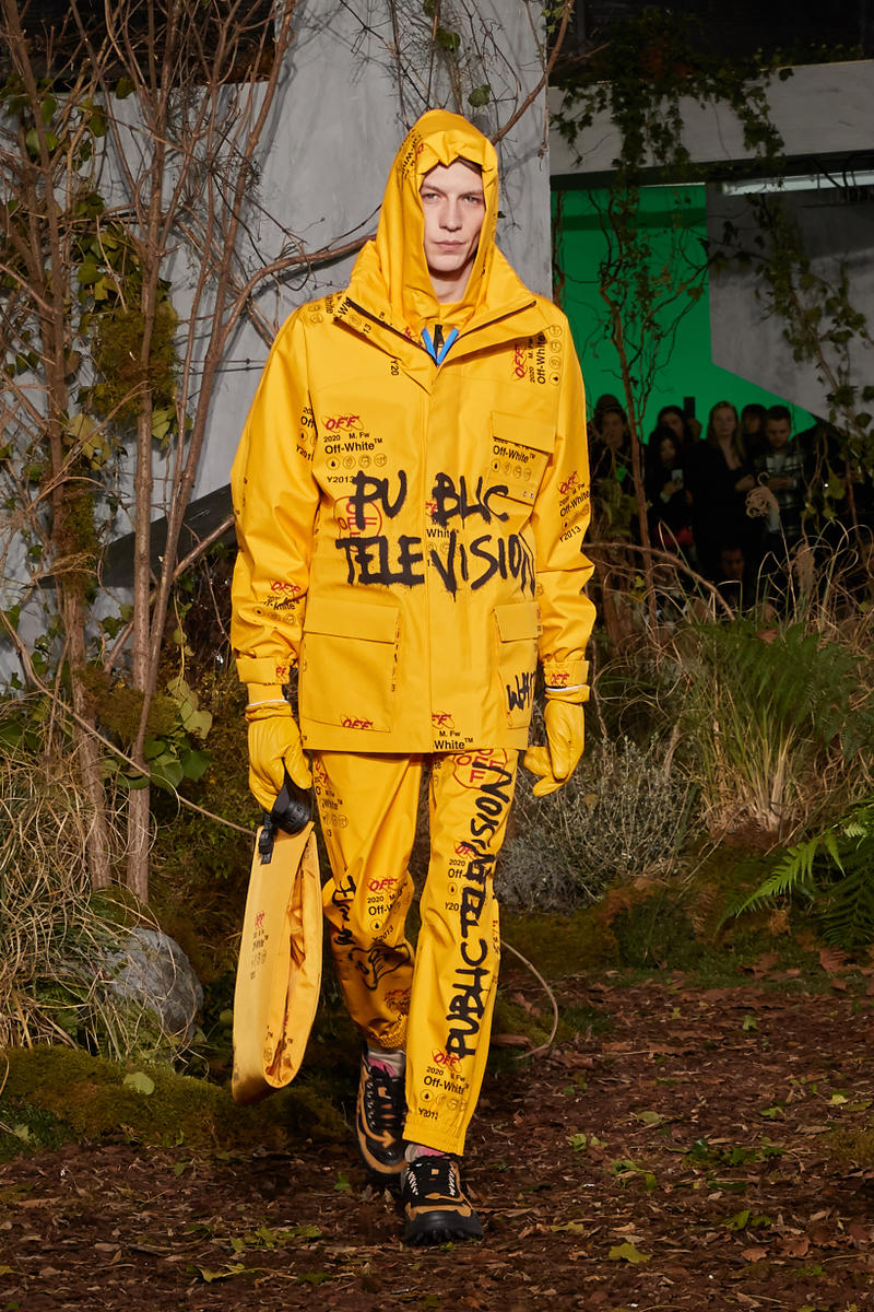 Off-White Virgil Abloh Fall Winter 2019 Paris Fashion Week Show Collection Backstage Hoodie Graphic Pants Yellow