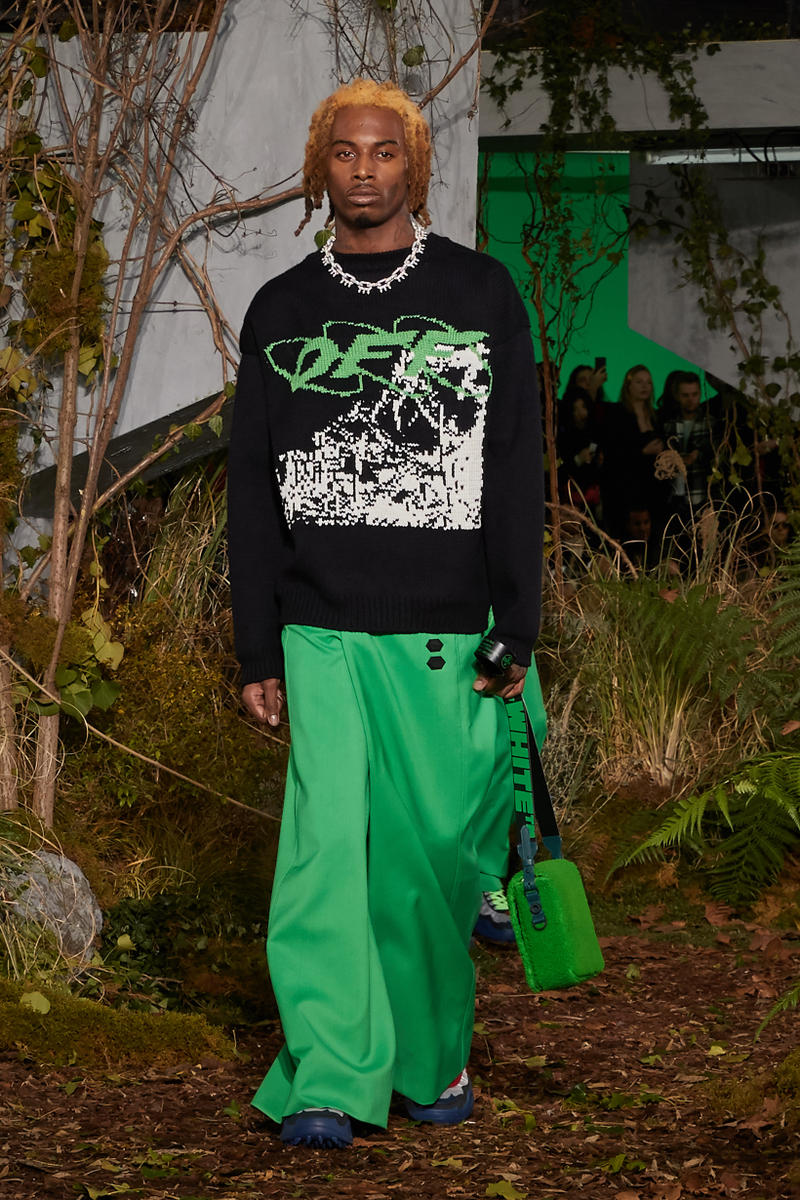 Off-White Virgil Abloh Fall Winter 2019 Paris Fashion Week Show Collection Backstage Playboi Carti Sweater Black Pants Green
