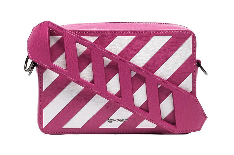 Off-White Pink White Diagonal Stripe Shoulder Belt Bag Virgil Abloh