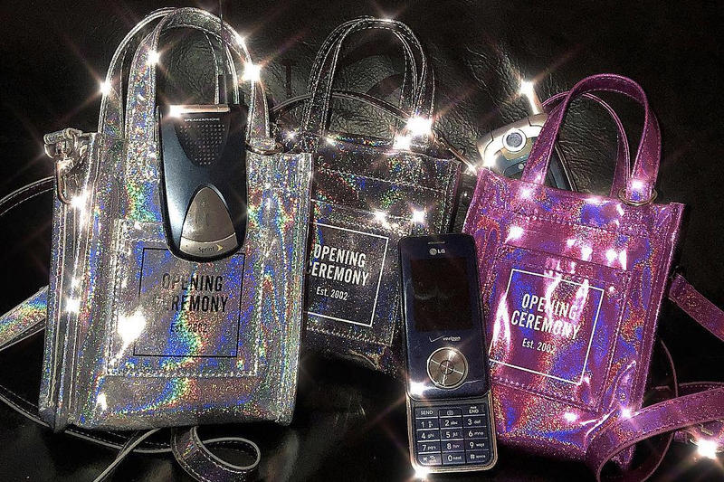 Opening Ceremony Mini Glitter Tote Bag Pink Silver Black