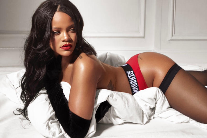 Rihanna Savage X Fenty Christmas Holiday Holidays 2018 Lingerie Underwear Red Bed Sheets