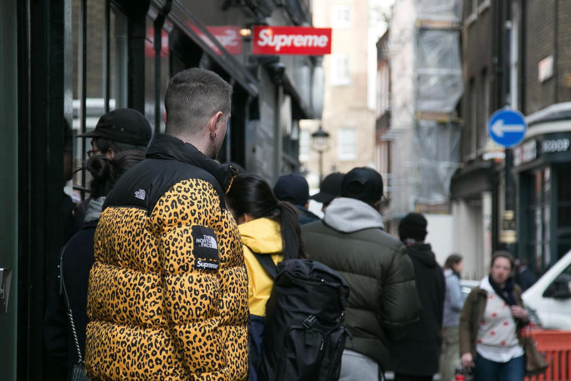 Supreme London Store Sign Red White Logo The North Face Collaboration Puffer Jacket Leopard Print