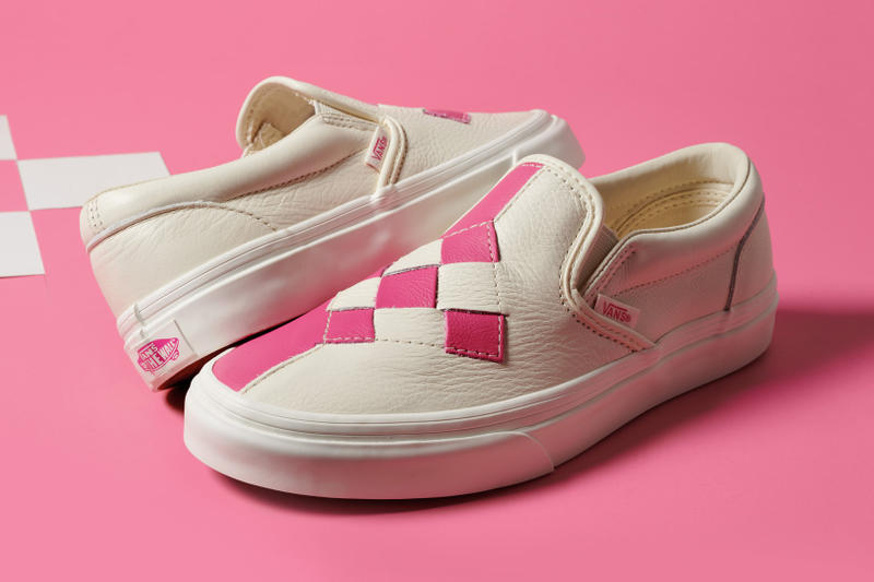 2b3520a94518 Vans Woven Leather Checkerboard Slip-On Sneakers Pink Cream White Black