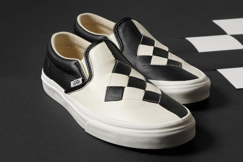Vans Woven Leather Checkerboard Slip-On Sneakers Pink Cream White Black
