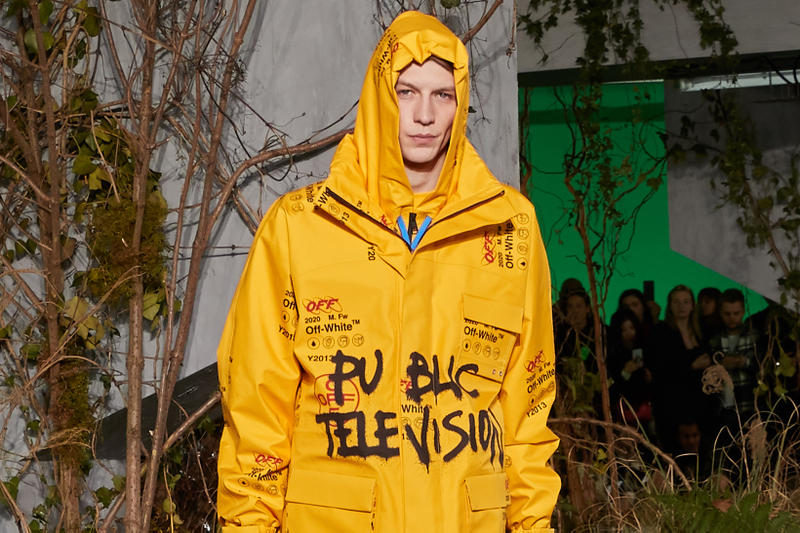 Off-White Virgil Abloh Fall Winter 2019 Paris Fashion Week Show Collection Graffiti Jacket Yellow
