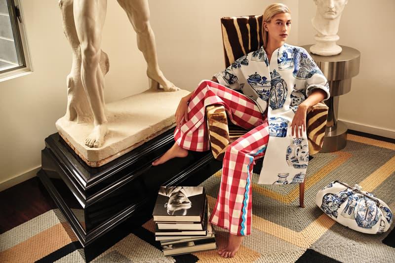 Weekend Max Mara Spring Summer 2019 Campaign Hailey Baldwin Kimono White Blue Pants Red
