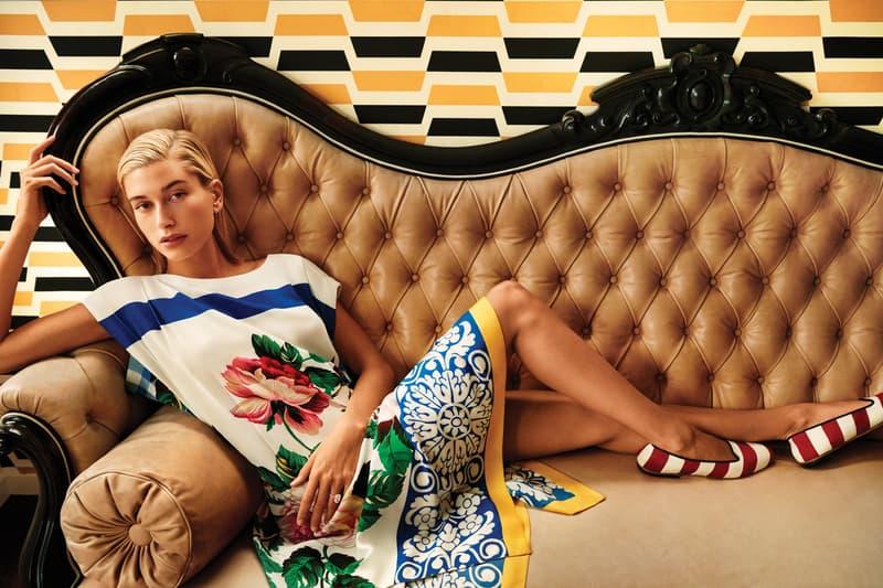 Weekend Max Mara Spring Summer 2019 Campaign Hailey Baldwin Dress White Blue Shoes Red