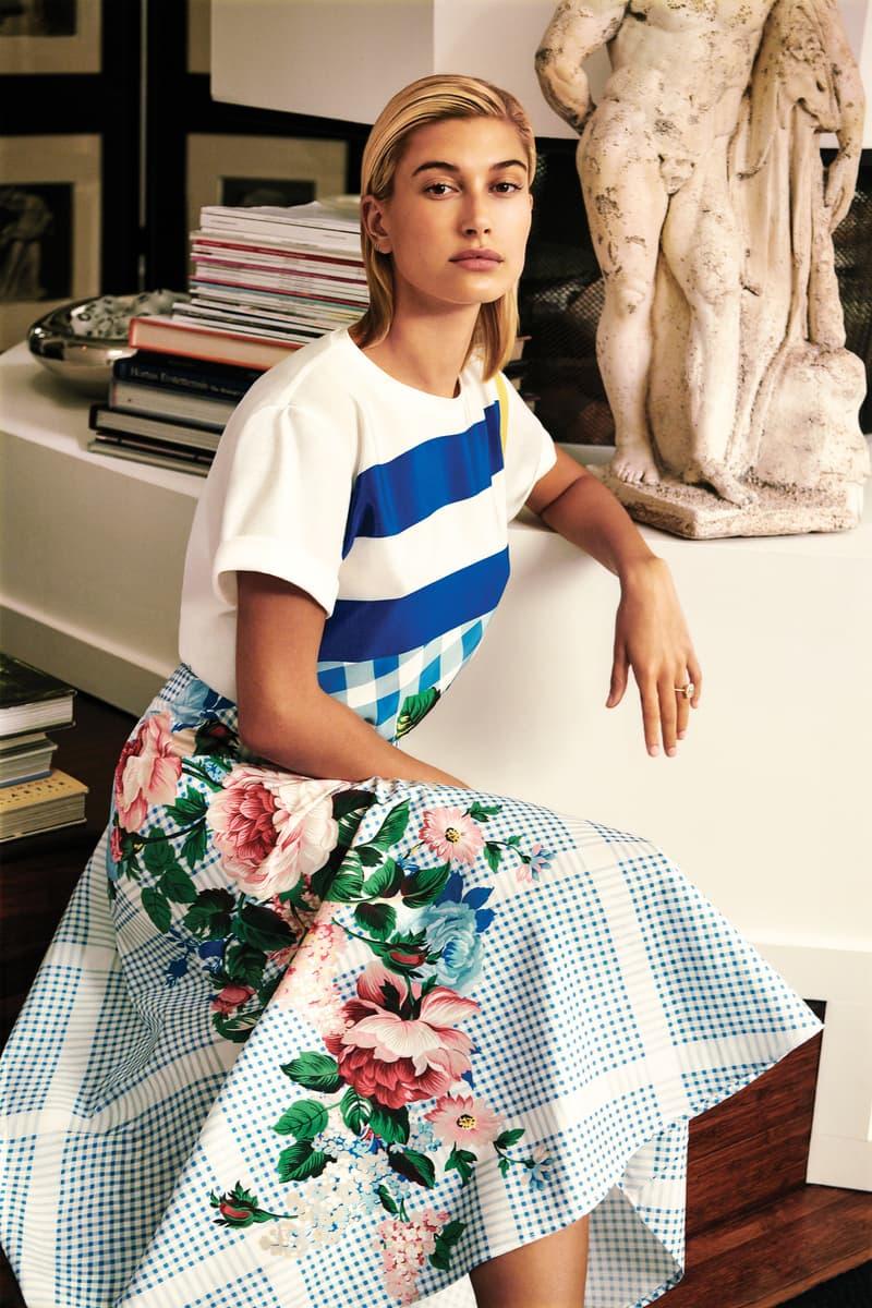 Weekend Max Mara Spring Summer 2019 Campaign Hailey Baldwin Top Skirt White Blue