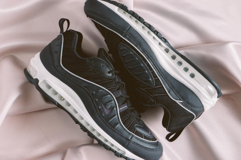 "Nike Air Max 98 ""Oil Grey"" Release Date Black Sneaker Shoe White Sole"