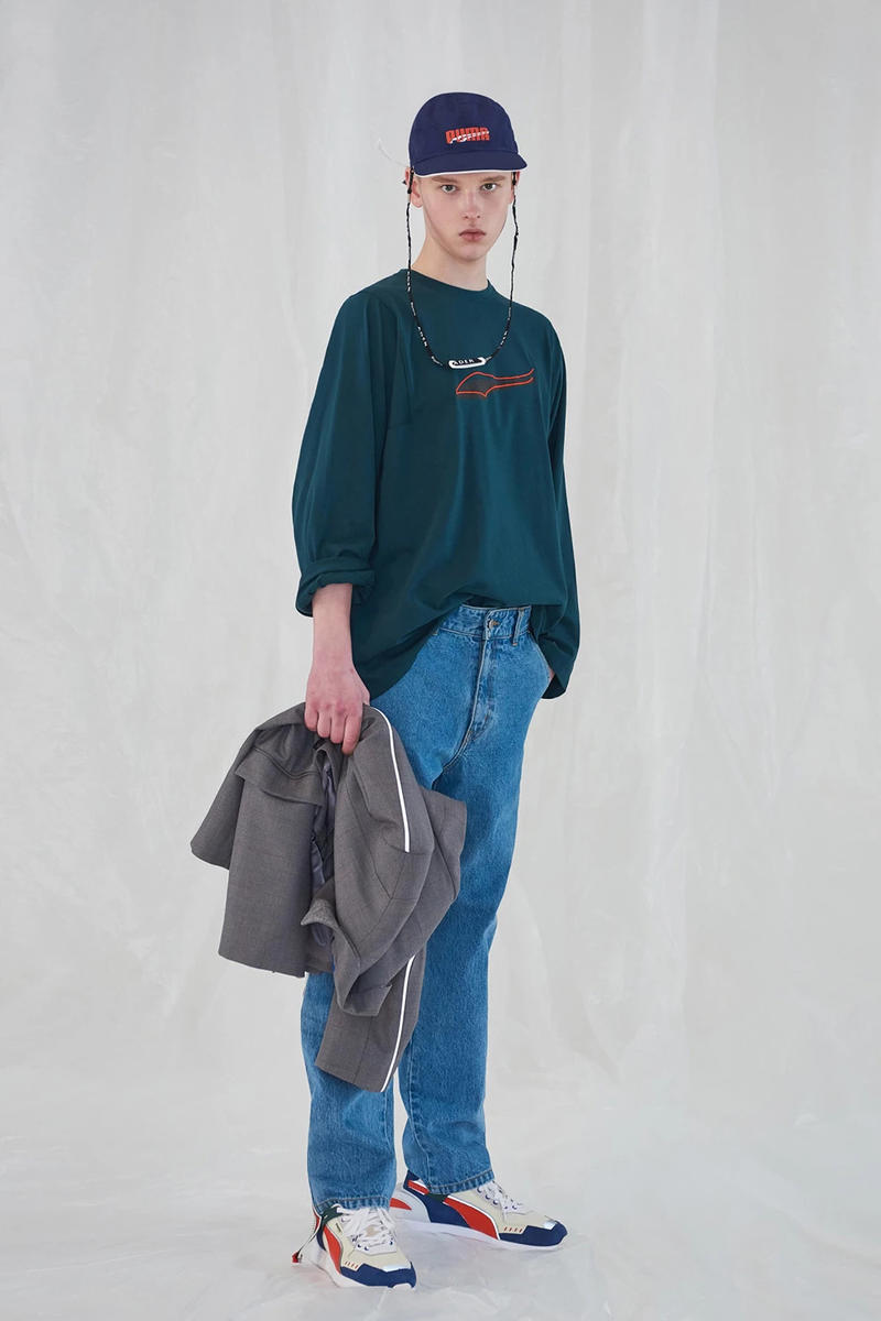 Ader Error x PUMA Spring Summer 2019 Lookbook T-shirt Green Jeans Blue